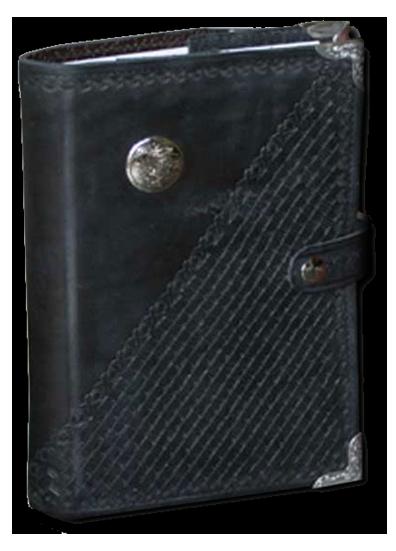 Black Basket Weave Leather Planner Book Cover