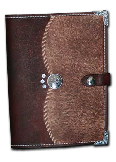 Antique Mahogany Leather Planner Book Cover