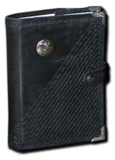 Black Basket Weave Leather Planner Book Cover