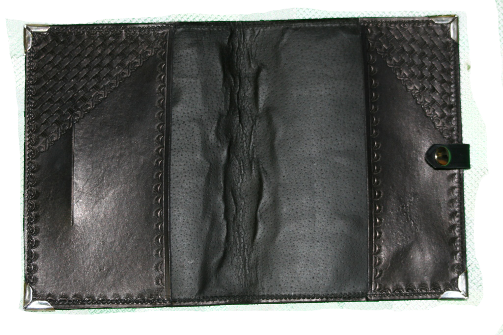 Black Basket Weave Leather Planner Book Cover 3