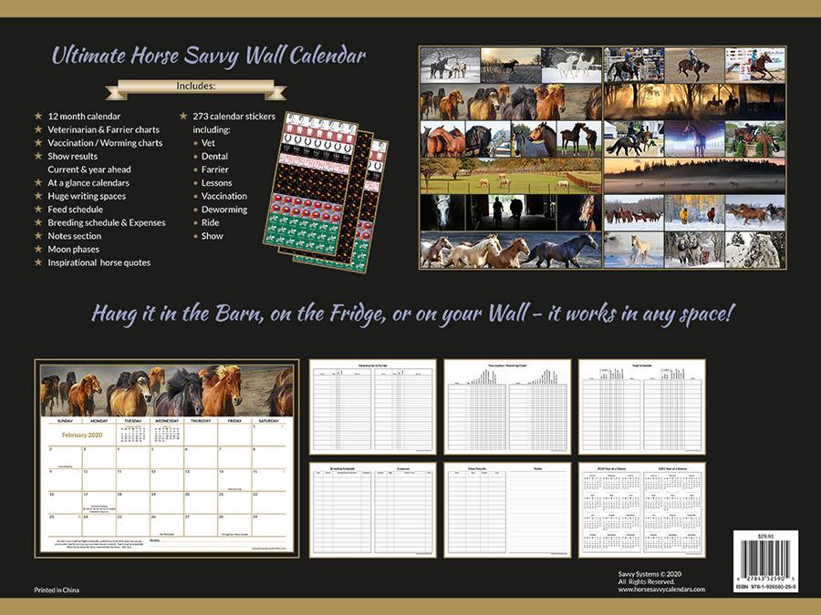 2020 Horse Calendar Back View